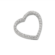 9ct white Gold 0.32ct Diamond set heart pendant